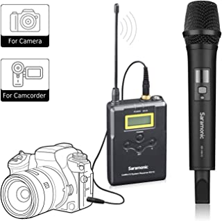 Wireless Handheld Microphone for Camera, Saramonic Uwmic15A UHF Interview Transmitter and Receiver Microphone System for Video Recording for Nikon,Canon, DSLR,DV Camcorder (3.5mm TRS Jack)