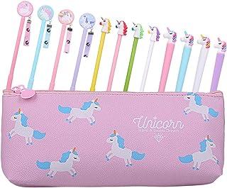 Rubywoo&chili Set di 12 penne a forma di unicorno e astuccio per bambine, regalo di compleanno
