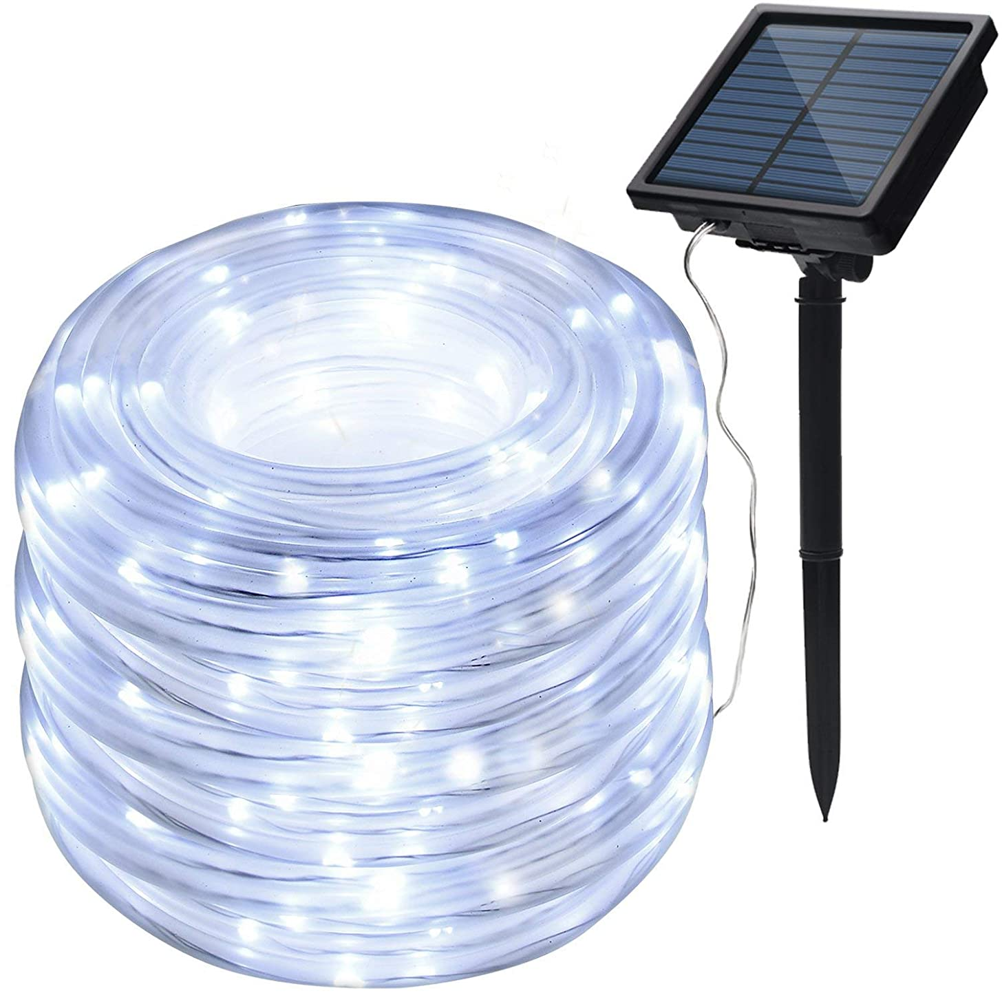 feierna Solar Rope Lights Outdoor, Fairy Rope String Lights Waterproof 33ft/10m 100LED Rope Tube Strip Lights for Christmas Wedding Halloween Patio Party Decoration (White)