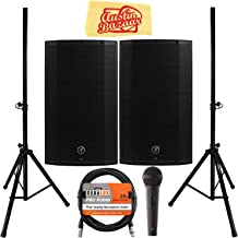Mackie Thump12A 12-Inch Powered Loudspeaker Bundle with 2 Speakers, Stands, Microphone, XLR Cable, and Austin Bazaar Polishing Cloth