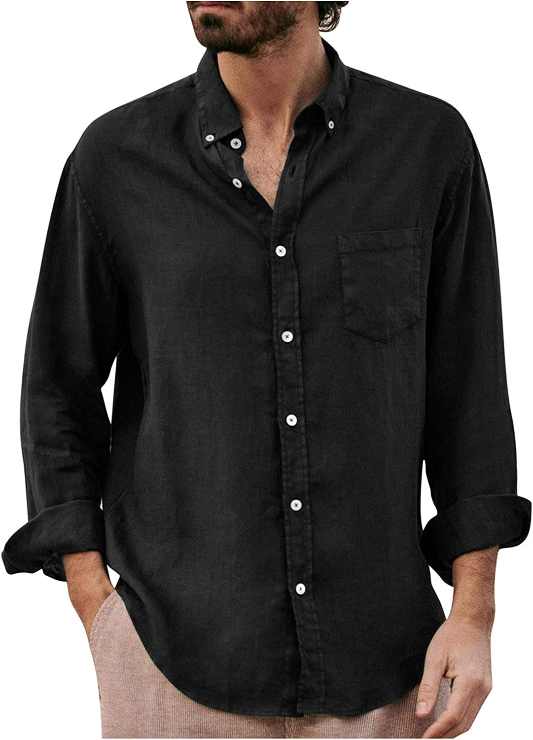 Mens Linen Shirts Long Sleeve Casual Button Up Loose Fit Beach Henley Shirts Summer Tops with Pocket