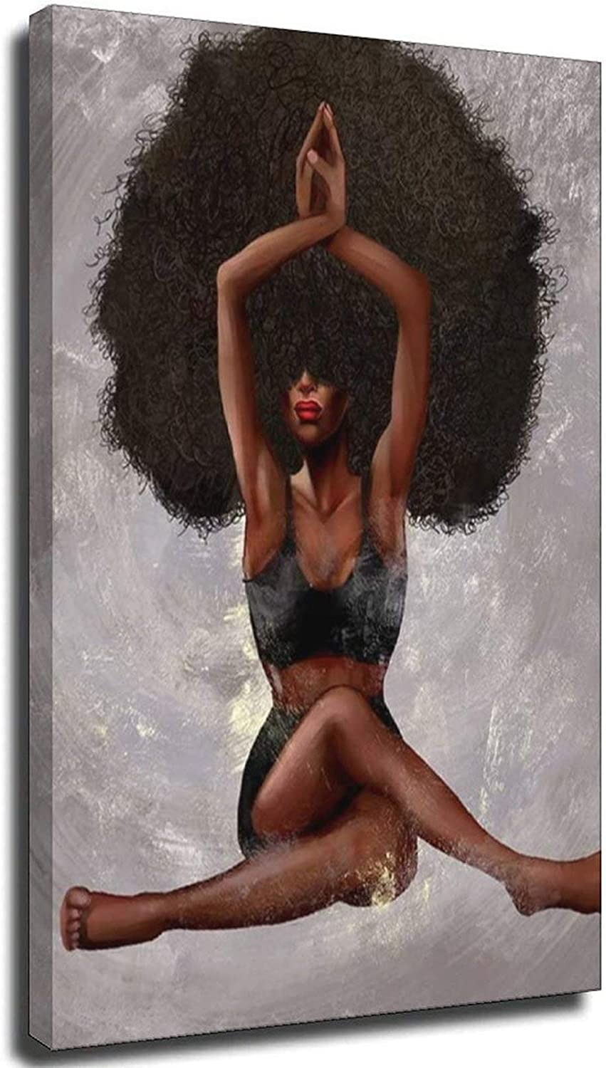 Black Girl Canvas Wall Art Max 58% OFF Yoga Curly Max 89% OFF American African