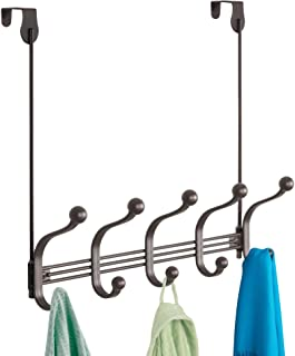 iDesign York Metal 5-Hook Over-the-Door or Wall Mount Rack for Coats, Hats, Scarves, Towels, Robes, Jackets, Purses, 15.62...