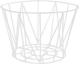 Panier Filaire en métal ajouré - Blanc - Base : 22x22x20cm / Top : 30x30x20cm