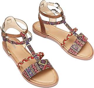 Camfosy - Sandalias planas para mujer, de piel sintética,