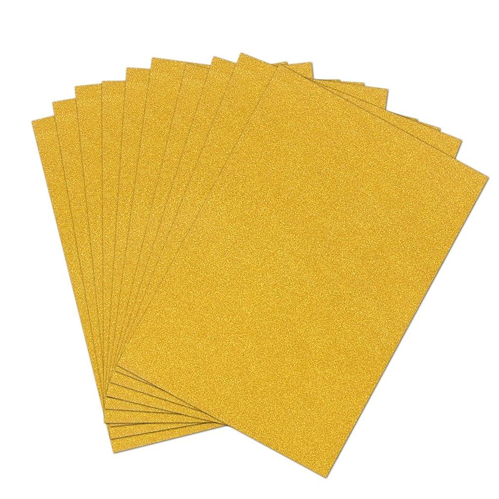 ULTNICE 10pcs Glitter Cardstock Paper Sparkle A4 Card for Diy Craftwork (Gold)