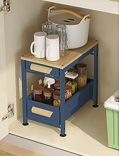 Organisateur multifonctionnel sous évier,organisateur à deux couches de type tiroir à poignée en bois à 2 couches,tiroir d...