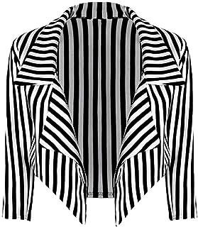 New Womens Black White Striped Crop Waterfall Blazer Ladies Casual Jacket Coat Stripe Blazer, Black and White Stripe, S/M...