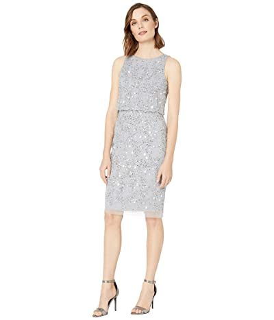 Adrianna Papell Beaded Blouson Cocktail Dress (Silver Mist) Women