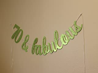 All About Details 70 & Fabulous Cursive Banner, 1set, 70th Birthday (Lime Green)