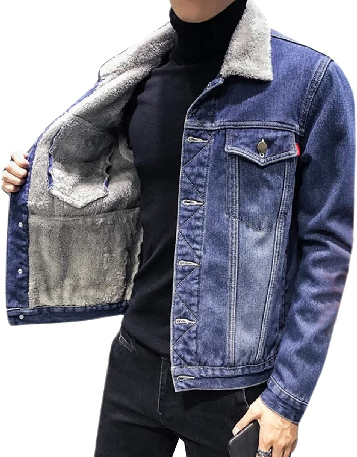 FreelyMen Thick Fleece Big and Tall Washed Denim Jean Jacket Coat Outerwear