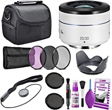 Samsung 45mm f/1.8 [T6] 2D/3D Telephoto Lens (White) NX Mount EX-S45ADW + Warranty + Cleaning Kit + Case + Accessories Bundle