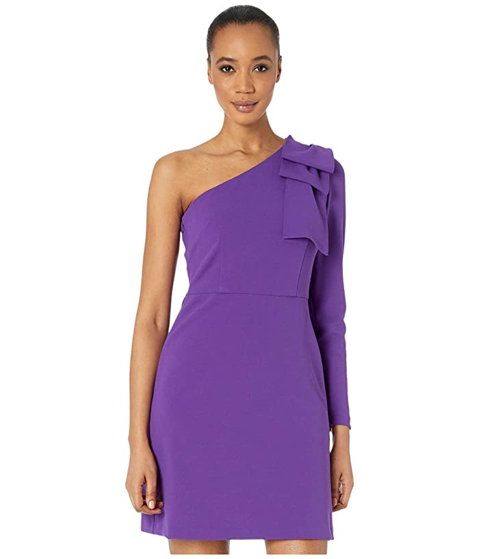 Donna Morgan  One Shoulder Stretch Crepe Dress with Front Slit (Bright Purple) Womens Clothing