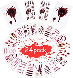 Joyjoz Halloween Temporary Tattoos, Halloween Stickers with Fake Blood, Scars, Wound, Zombie Makeup for Party, Cosplay, Kids, Adults (24 Sheets)