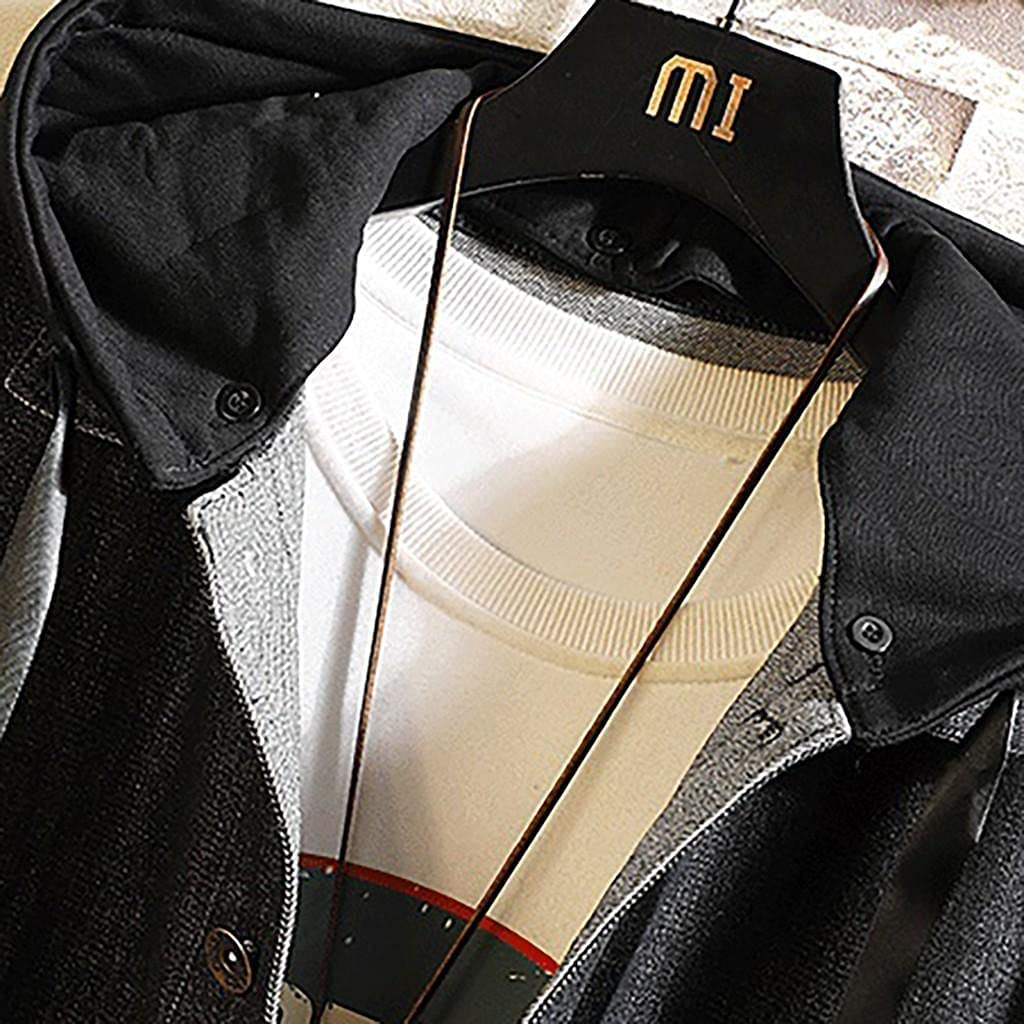 Men's Denim Hooded Jackets Fashion Patchwork Button Down Overcoat Classic Fit Stretch Jeans Outwears Tops with Pockets