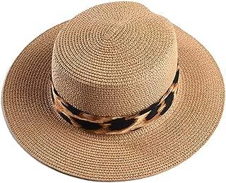 HAOHAO Leisure Women's Sun Elegant Hat Lafite Shuck Hat Popular Leopard Wide-Brimmed Hat Shuck Summer Summer Sun Hat Women's Beach Hat (Color : Coffee, Size : 56-58CM)