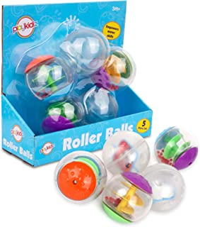 Playkidz Durable Rolling and Rattling Sensory Balls, Textured Balls with Visible & Bright Interiors for Babies & Toddlers...