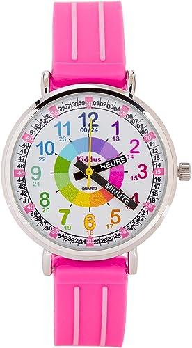 KIDDUS Montre Bracelet Éducative pour Enfants, Fille. Time Teacher Analogique avec Exercices. Mécanisme en Quartz Jap...