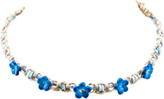 Hemp Choker Necklace with Blue Shells, Blue Glass Beads and Dark Blue 3D Fimo Flowers