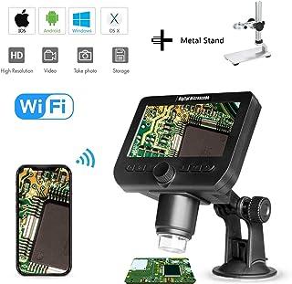 1000X LCD Microscopio Digital Bysameyee WiFi inalámbrico 4.3 Pulgadas 1080P Lupa portátil Zoom Cámara con 8 Luces LED Batería Recargable para la colección de Monedas Reparación de Soldadura