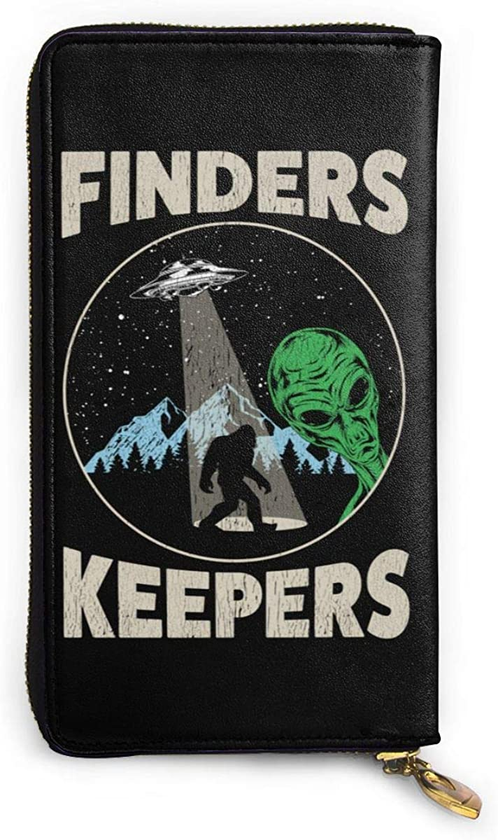 Bigfoot Sasquatch Believe With UFO And Aliens Genuine Leather Zip-Around Wallet Phone Clutch Cash Card Coin Holder Large Travel Purse