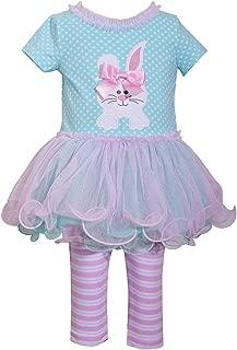 Holiday Bunny Easter Spring Girls' Appliqued Skirt Dress Set