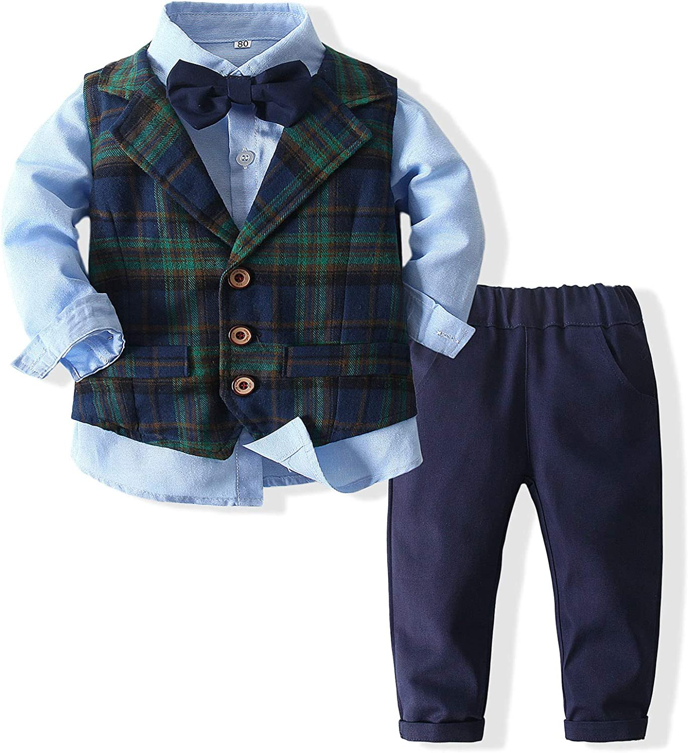 Baby Boys' Outfit Set with Dress Shirt, Vest, Pants, and Bow Tie Gentleman Easter Outfits Suit Set