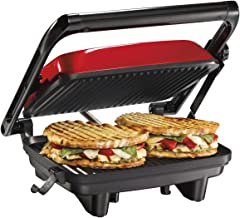 Hamilton Beach Electric Panini Press Grill With Locking Lid, Opens 180 Degrees For Any Sandwich Thickness, Nonstick 8