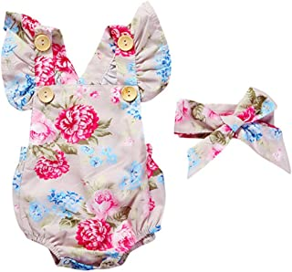 AYIYO Summer Newborn Baby Girls Clothes Floral Jumpsuit Romper Playsuit + Headband Outfits