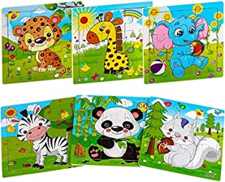 ELF Wooden Jigsaw Puzzles for Kids Ages 2-5 Toddler Puzzles 9 Pieces Preschool Educational Learning Toys Set Animals Puzzl...