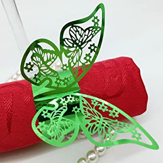 King&Pig 50pcs Laser Cut Butterfly Shape Napkin Rings for Dinners Lunch Tables Home Wedding Birthday Date Anniversray Party Decorations (bright green)