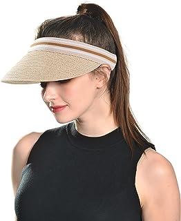 HIKARO Amazon Brand Straw Visor Sun Hat for Womens Packable Summer Beach Hat Golf Cap