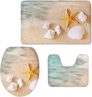 CHAQLIN Bath Mat,Beach,Starfish Sea Shell Bathroom Carpet Rug Non-Slip 3 Pcs Bathroom Mat Set