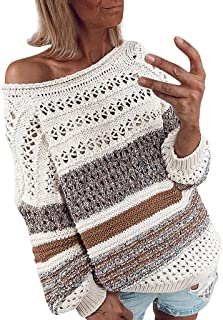 Winter Warm Women Fashion Stripe Patchwork Hollow Out Long Sleeve Knitted Sweater Pullover