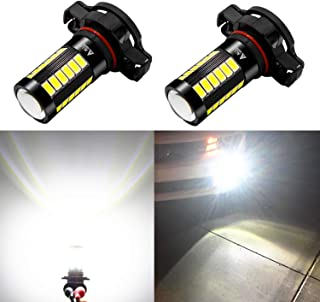 Alla Lighting 2504 PSX24W LED Fog Light Bulbs 2800lm Xtreme Super Bright Replace 2504 PSX24W Halogen 5730 33-SMD 2504 PSX24W LED Bulbs 12276 2504 PSX24W LED Fog Lights for Cars, Van, 6000K Xenon White