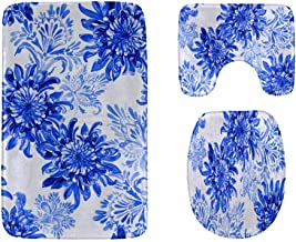 Colorful Chrysanthemum Watercolor Bathroom Rug Mats Set 3-Piece,Soft Shower Bath Rugs,Contour Mat and Toilet Seat Lid Cove...