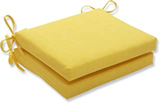 Pillow Perfect Outdoor Fresco Yellow Squared Corners Seat Cushion, Set of 2