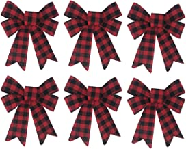 Happy Holidays Christmas Decoration Bow Bundle Great for Tree, Decor, Crafts, Wrapping, Wreath - Set of (6) Red and Black ...
