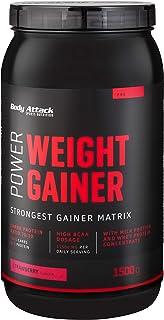 Body Attack Power Weight Gainer, Strawberry, 1.5 kg, 100% massabouw, koolhydraat eiwitpoeder om spieren op te bouwen met W...