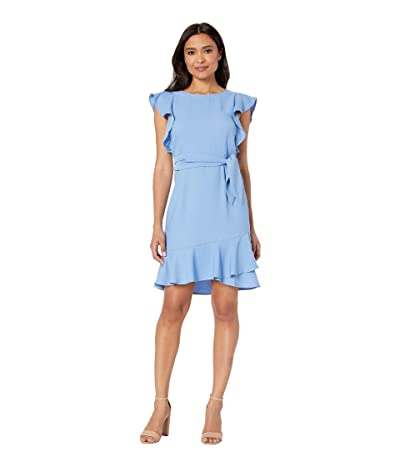 American Rose Tatum Ruffle Sleeve Wrap Dress (Blue) Women