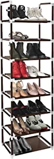 ERONE Shoe Rack Organizer 8 Tiers, Stackable and Durable Shoe Shelf Storage 16 pairs Metal Shoe Tower Space Saving 18 x 11.9 x 57.7 (Brown)