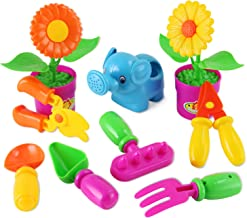 Liberty Imports Little Garden Tools 9-Piece Kids Gardening Set with Flower Pots, Watering Can, Rake, Shovel, Hoe, and Trowel