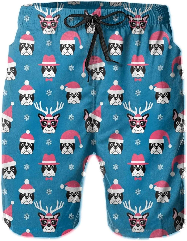 Funny French Bulldog Head with Hat and Snowflakes Mens Swim Shorts Casual Workout Short Pants Drawstring Beach Shorts,L