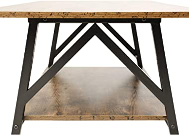 """CO-Z 47"""" Industrial Coffee Table with Storage Shelf, Solid Wood and Metal Legs for Living Room, 2-Tier Accent Cocktail Table, Easy Assembly, Rustic Brown"""