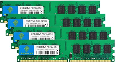 Rasalas DDR2 800 PC2-6400 DDR2 8GB Ram (4x2GB) DDR2 800 Udimm RAM DDR2 Ram 2GB 1.8V CL6 Non-ECC Unbuffered Desktop Memory Modules
