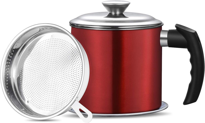 Haosens 1200ml Filtro Aceite Cocina, Graseras de Cocina con Malla Fina Colador - Adecuado para almacenar Aceite de fritura y Grasa de Cocina, Aceite Usado