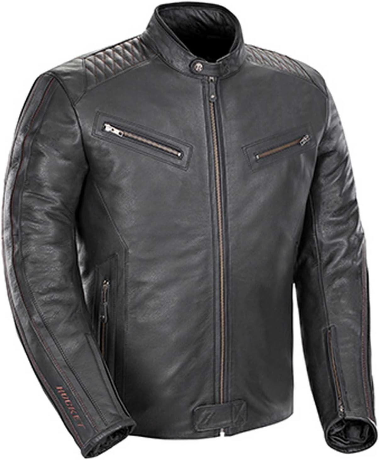Joe Rocket Vintage Rocket Men's Leather Street Motorcycle Jacket - Black/Black/Medium