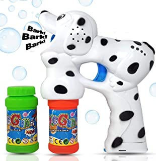 Haktoys Dalmatian Dog Bubble Shooter Gun   Ready to Play Puppy Light Up Blower w/ LED Flashing Lights, Extra Refill Bottle, Music & Barking Sound, Toy for Toddlers, Kids, Parties, Batteries Included