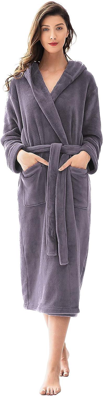 Femofit outlet Discount mail order Women's Hooded Bathrobe Long Sh Plush Robe Fleece