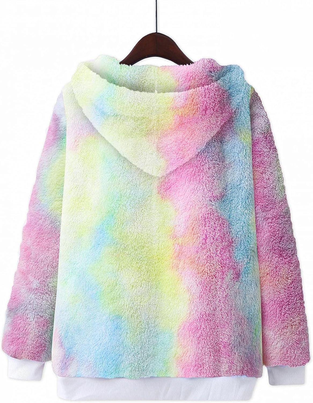 Tie-Dye Hooded Winter Coat Women Faux Fur Outwear Long-Sleeved Plush Hoodie Double-Faced Fleece Velet Warm Sweatshirts